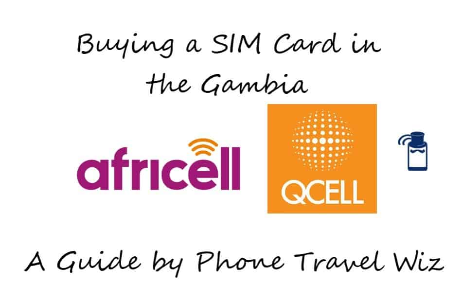 Buying a SIM Card in the Gambia Guide (logos of Africell & QCell)