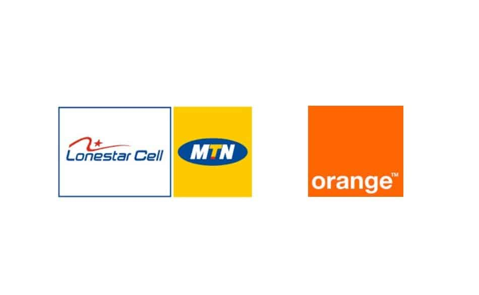 Logos of Telecom Operators in Liberia: LoneStar Cell MTN & Orange Liberia