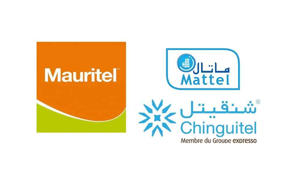 Logos of Telecom Operators in Mauritania: Maurital, Chinguitel & Mattel