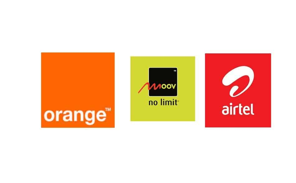 Logos of Telecom Providers in Niger: Orange Niger, Moov Niger, and Airtel Niger