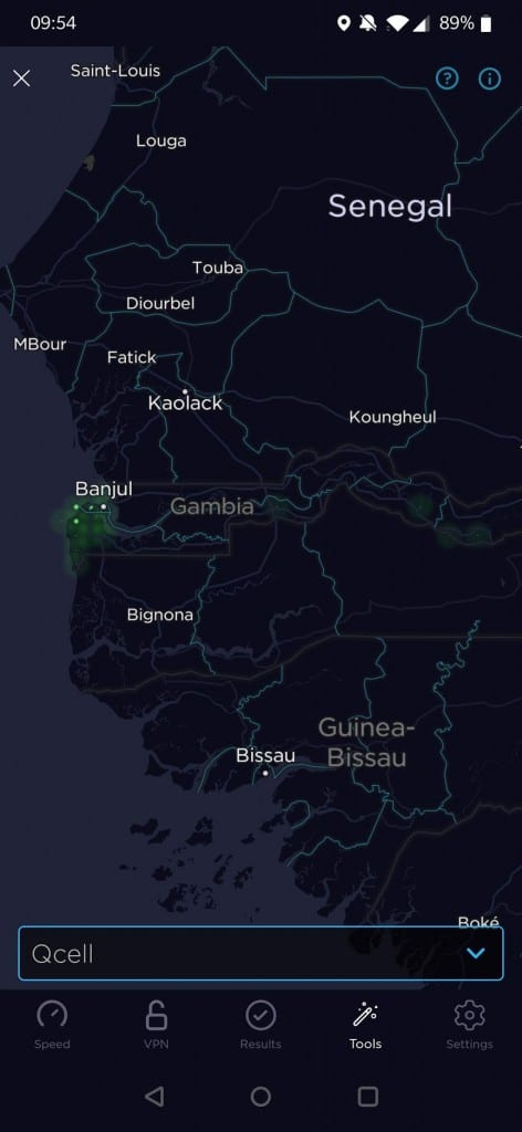 QCell Gambia Coverage Map