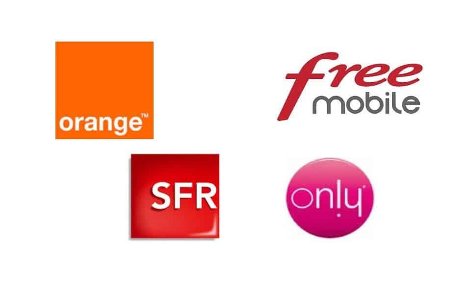 Logos of Telecom Providers in Réunion: Orange Réunion, Free Mobile, SFR Réunion, and Only Réunion
