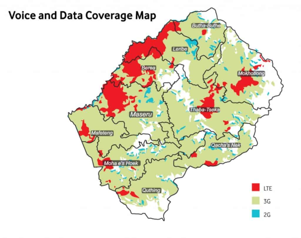 Vodacom Lesotho Coverage Map