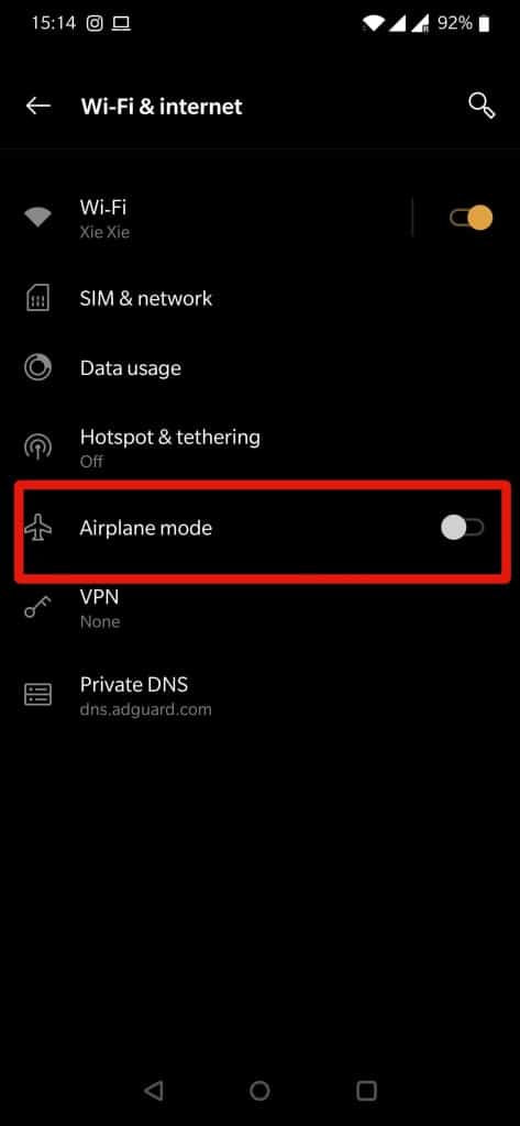 Enable Airplane Mode on an Android device