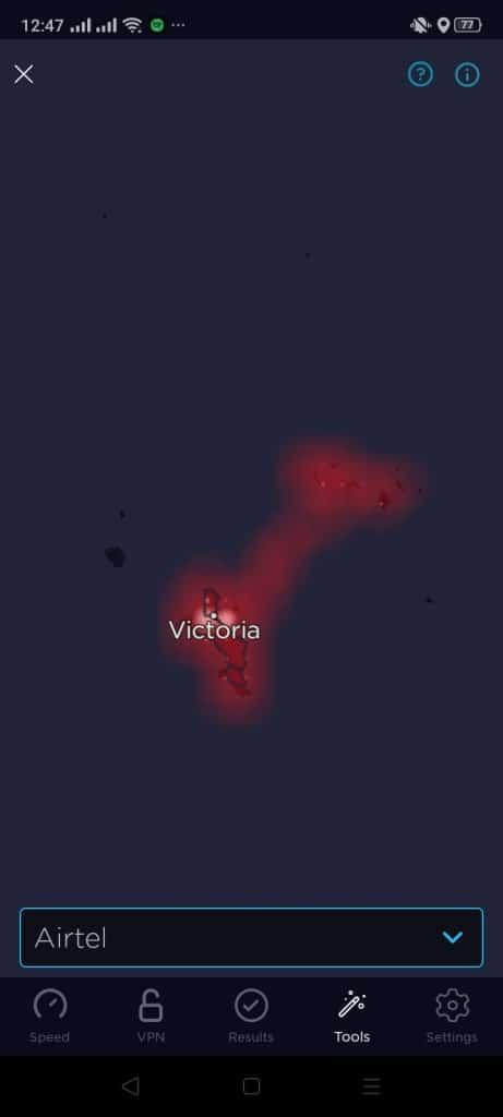 Airtel Seychelles Coverage Map (Speedtest)