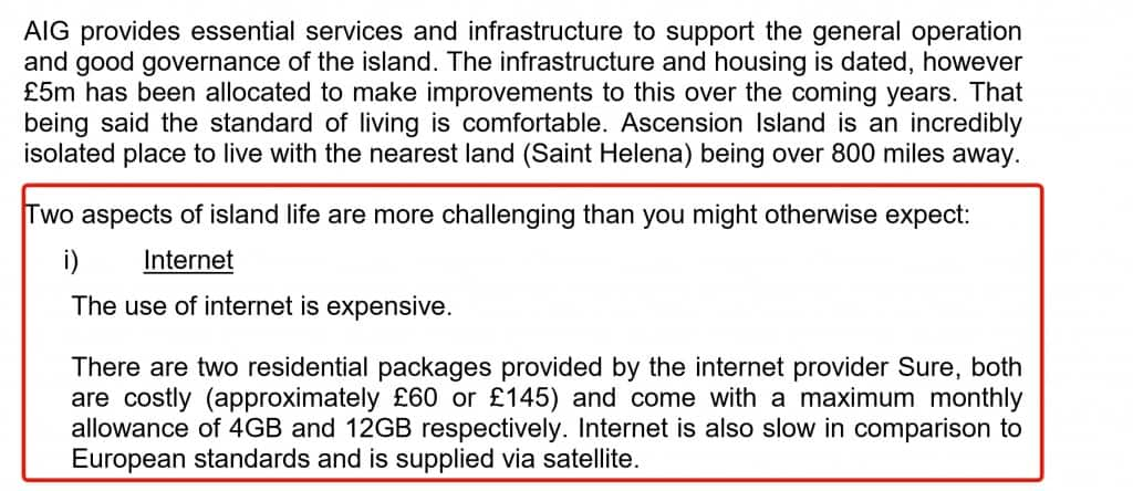 Government of Ascension Island stating internet is expensive on the island