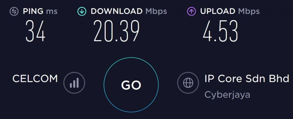 Celcom Speed test result at Kuala Lumpur International Airport