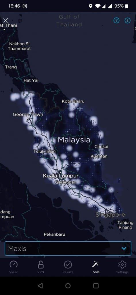 Maxis/Hotlink Coverare in Peninsular Malaysia