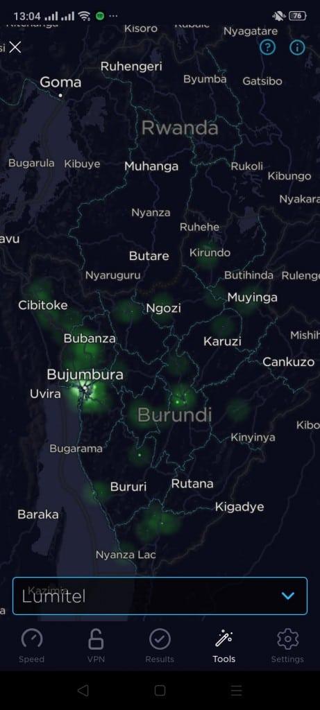 Lumitel Burundi Coverage Map (Speedtest)