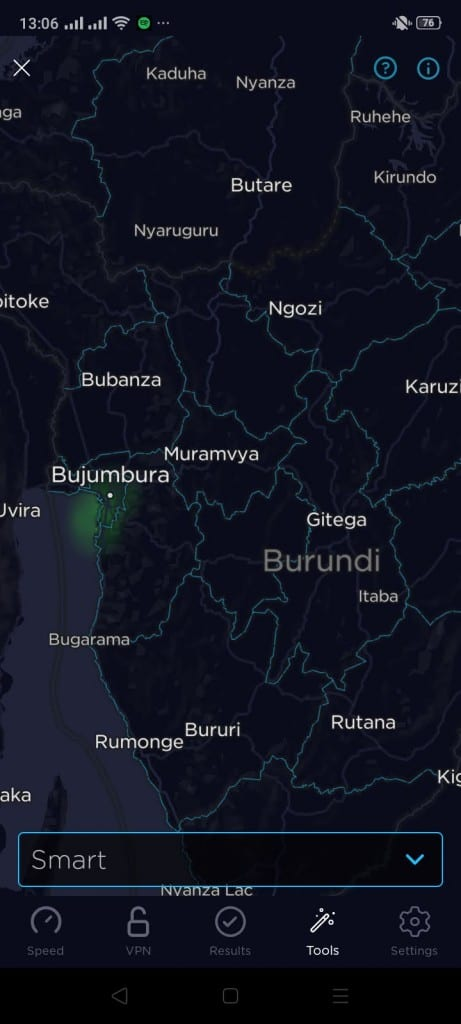 Smart Burundi Coverage Map (Speedtest)