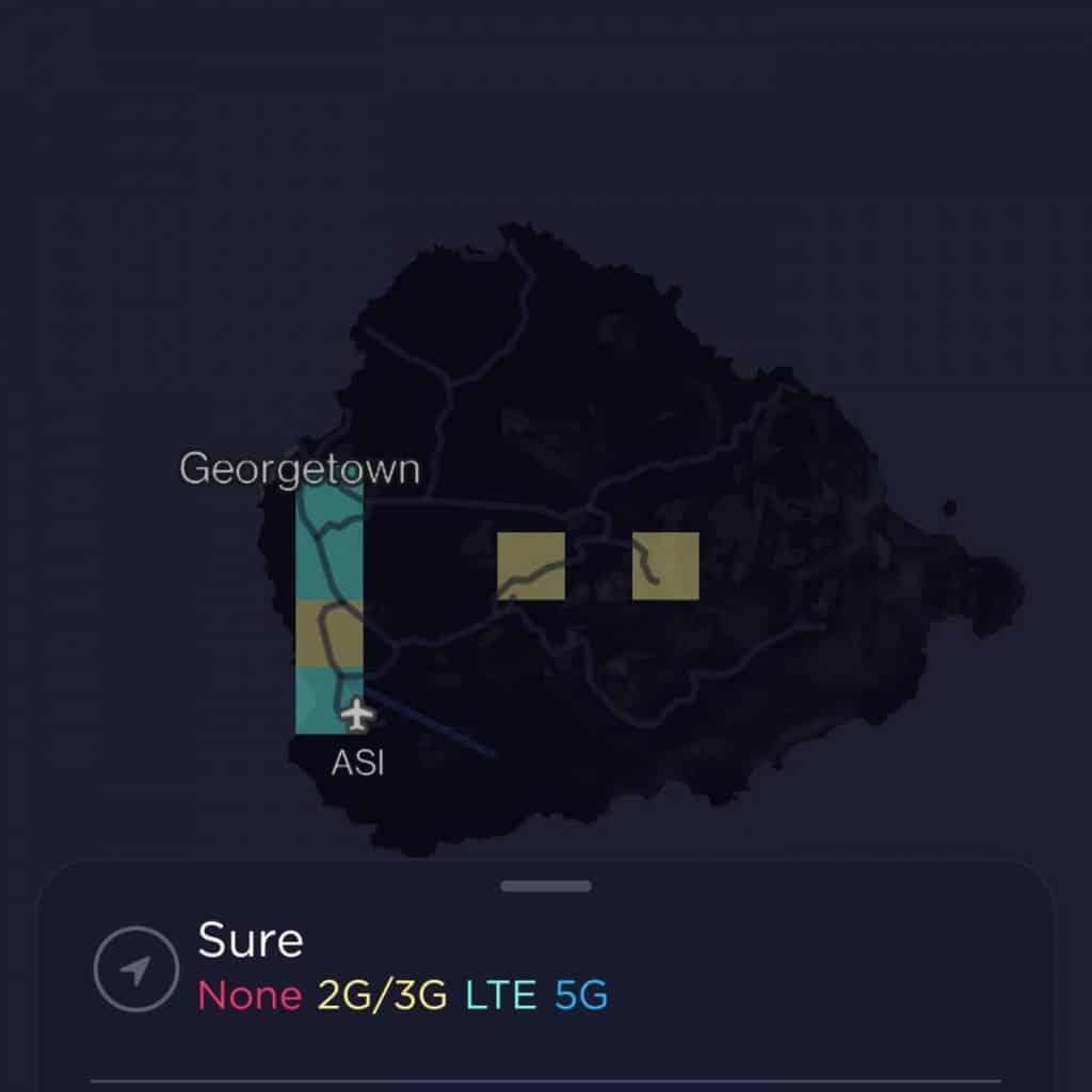 Sure Ascension Island Coverage Map