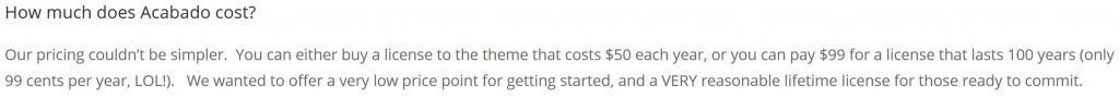 Acabado Price Explanation