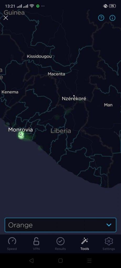 Orange Liberia Coverage Map (Speedtest)