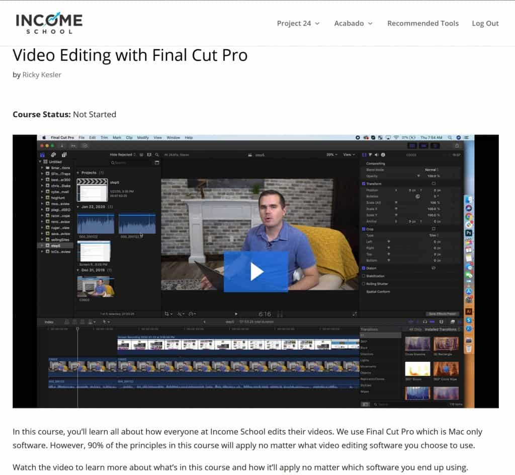 Project 24 Final Cut Pro course