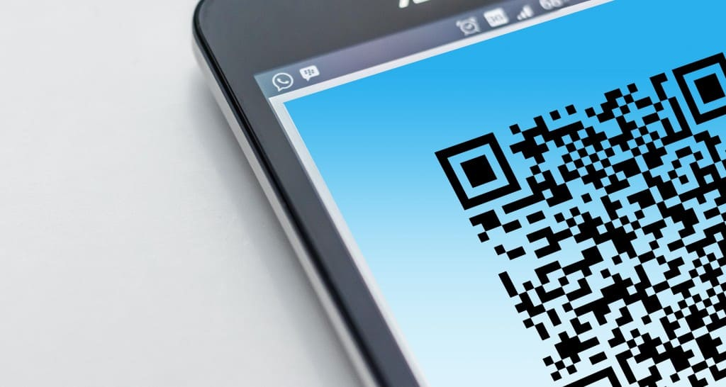a QR code shown on a phone