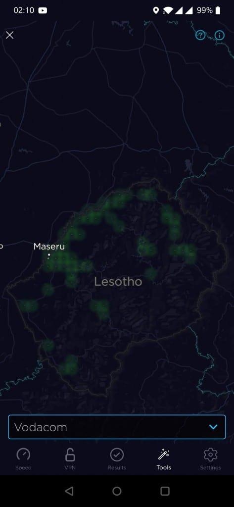 Vodacom Lesotho Coverage Map (Speedtest)