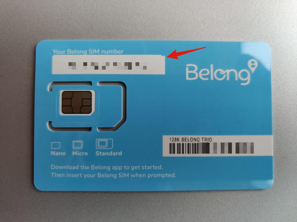 Belong Mobile SIM Card Number & Barcode