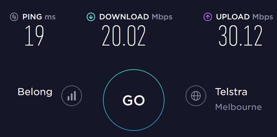 Belong Mobile Speedtest in South Melbourne (in an apartment complex)