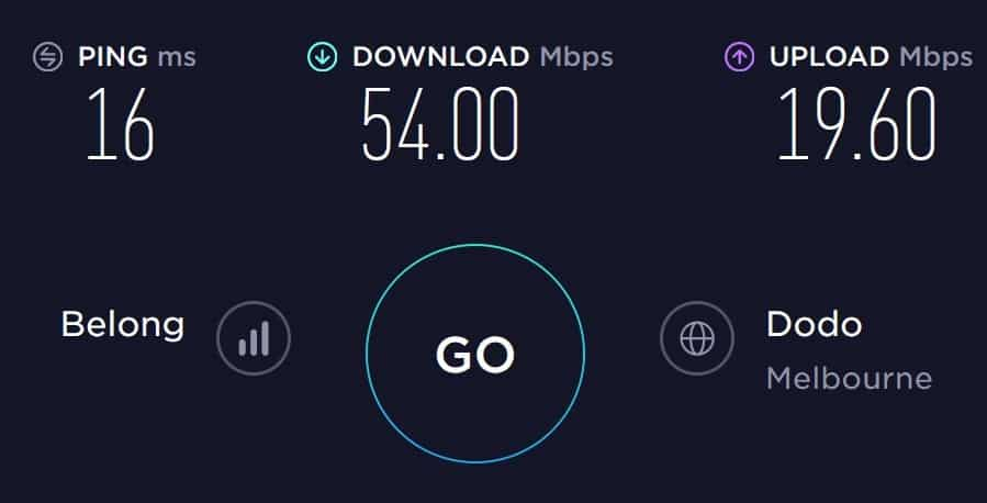 Belong Mobile Speed Test in South Melbourne
