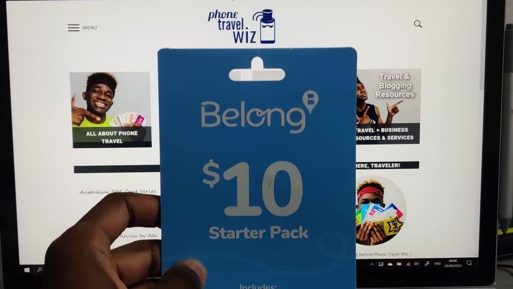 Belong Mobile SIM Card held by Adu from Phone Travel Wiz