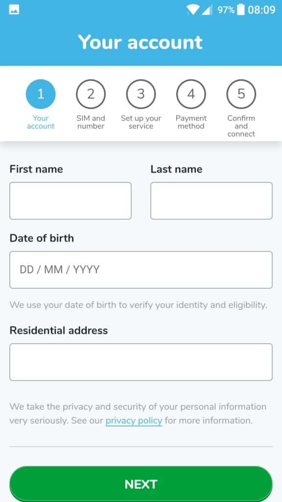 Belong Mobile SIM Card Activation on the Belong App