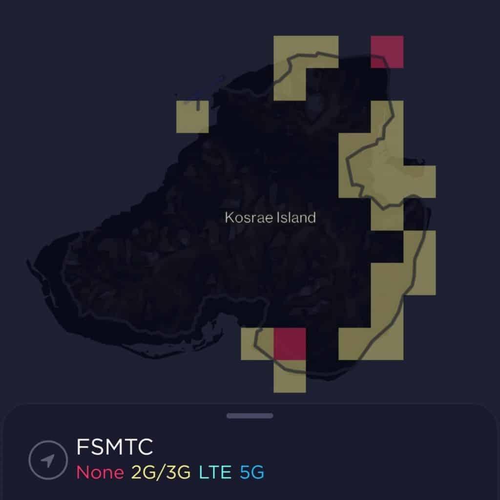 FSMTC Coverage Map on Kosrae