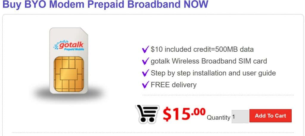 Gotalk Mobile BYO Modem Prepaid Broadband SIM Card Product Page