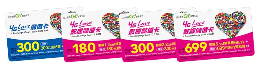 GT Mobile 4G LOVE Top Up Cards