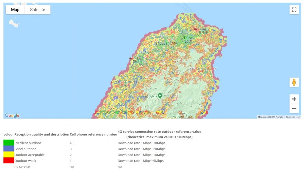 GT Mobile Coverage Map in Northern Taiwan