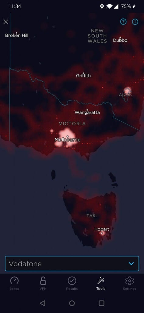 Vodafone Australia Coverage Map according to the Speedtest App (showing Victoria, Tasmania, and a part of New South Wales)