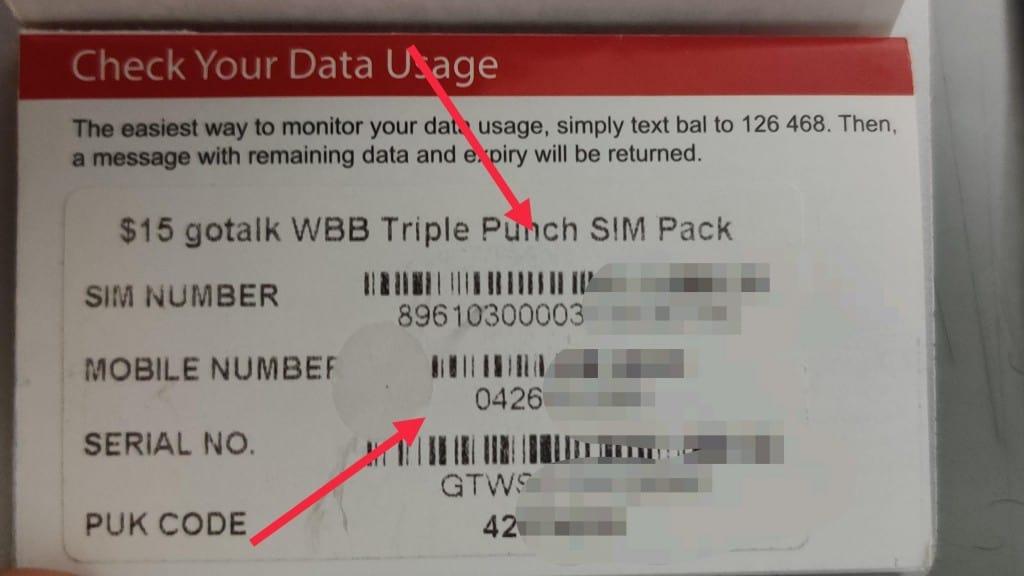 Gotalk SIM card number and phone number on starter kit