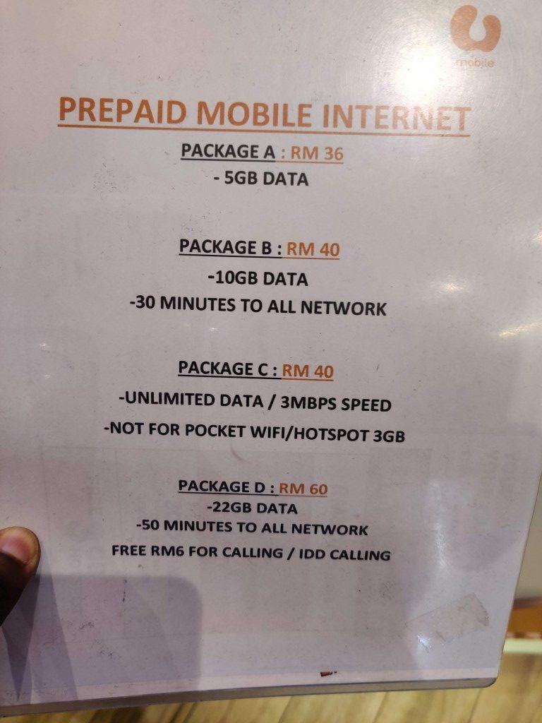 Unknown U Mobile Prepaid Plans sold in a U Mobile Service Center in Kuala Lumpur