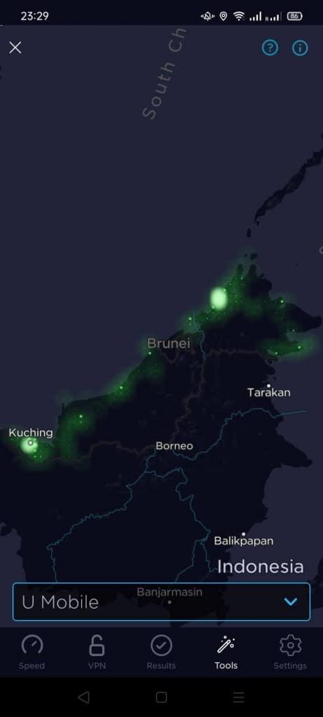 U Mobile Coverage Map according to Speedtest.net