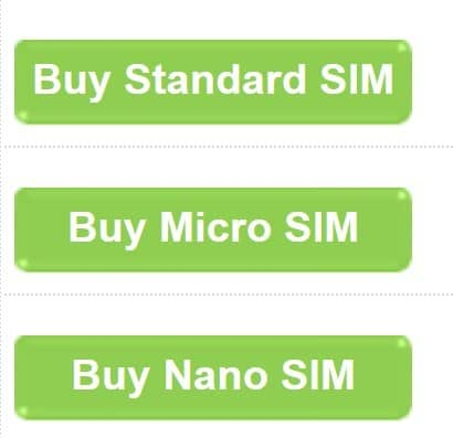 Hello Mobile SIM card size selection on their website