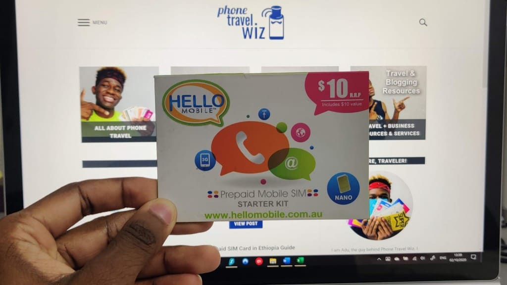 Hello Mobile SIM Card Held by Adu from Phone Travel Wiz
