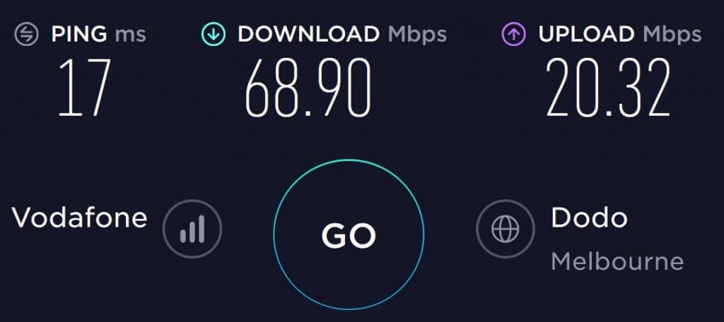Hello Mobile Speed Test in Melbourne