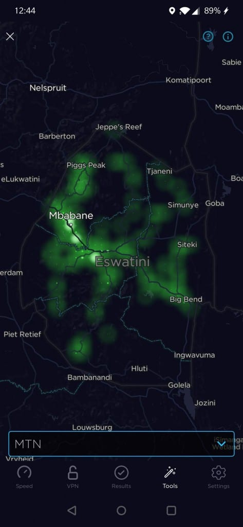MTN Eswatini Coverage Map by Speedtest
