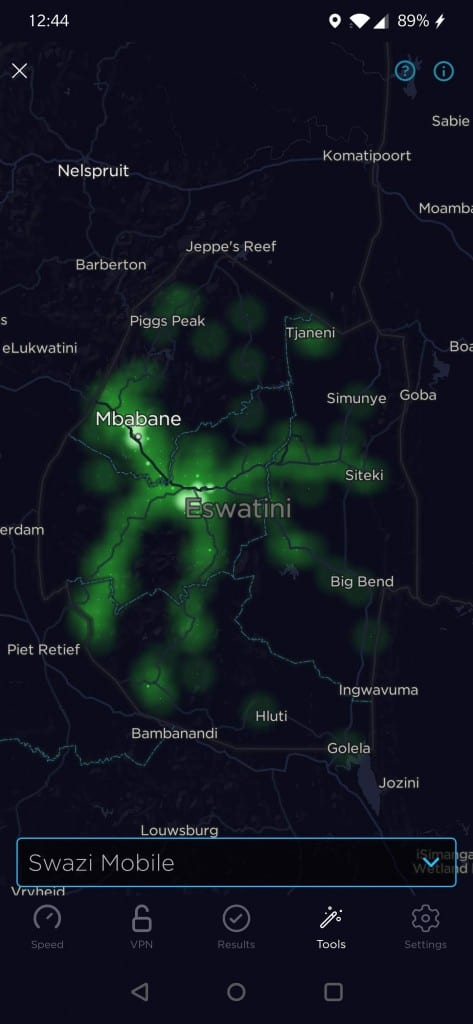 Swazi Mobile Coverage Map by Speedtest