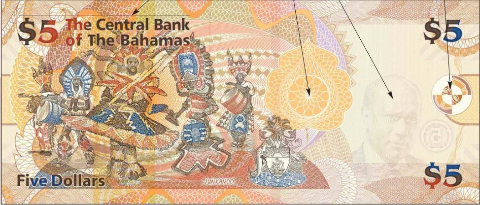 5 Bahamian Dollar Bank Note