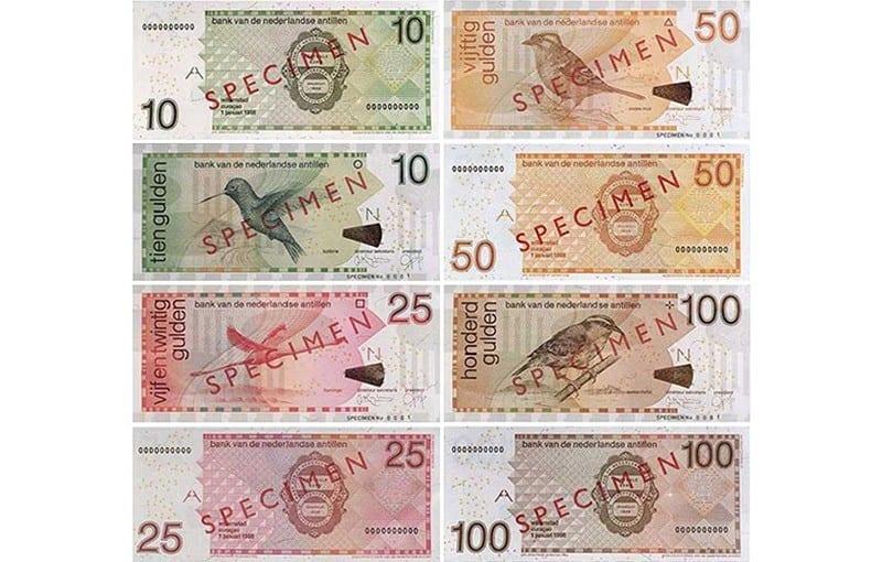 Netherlands Antillean Guilder Bank Notes (10, 25, 50 & 100 ANG)
