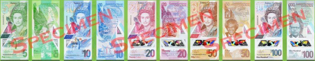 East Caribbean Dollar Notes (5, 10, 20, 50 & 100)