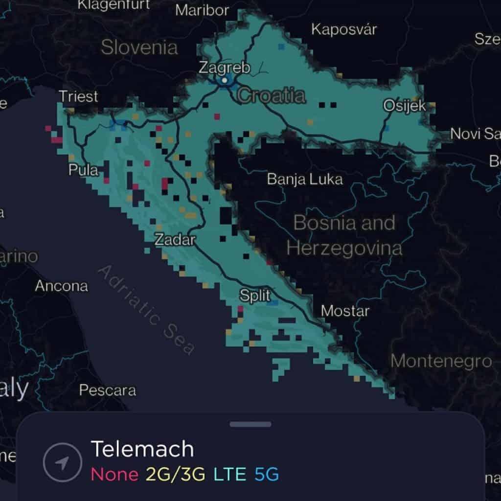 Telemach Croatia (Tele2 Croatia) Coverage Map
