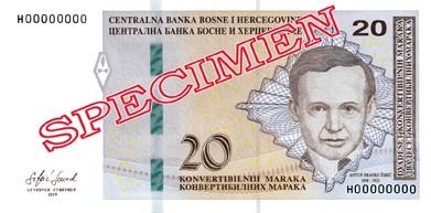 20 Bosnia and Herzegovina Convertible Mark Note