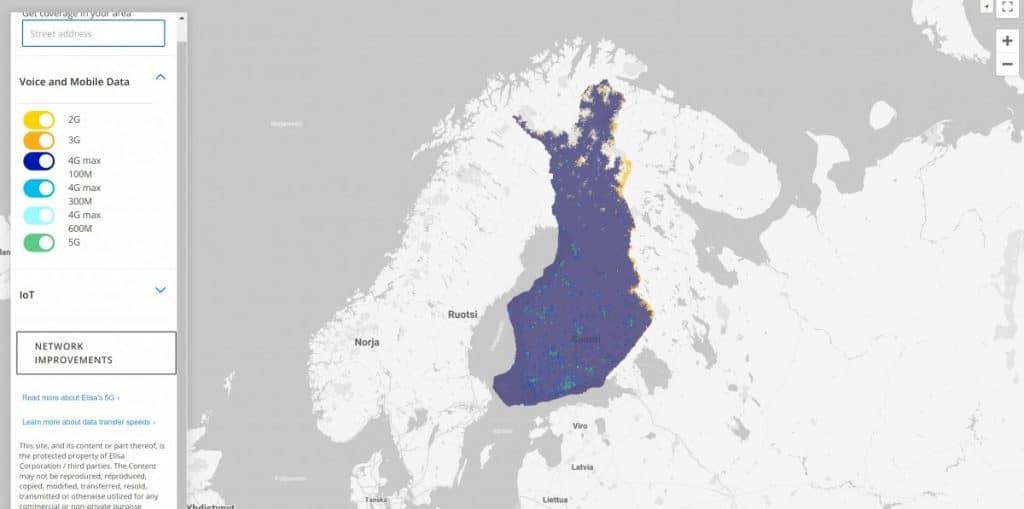 Elisa Finland 2G/3G/4G/5G Coverage Map