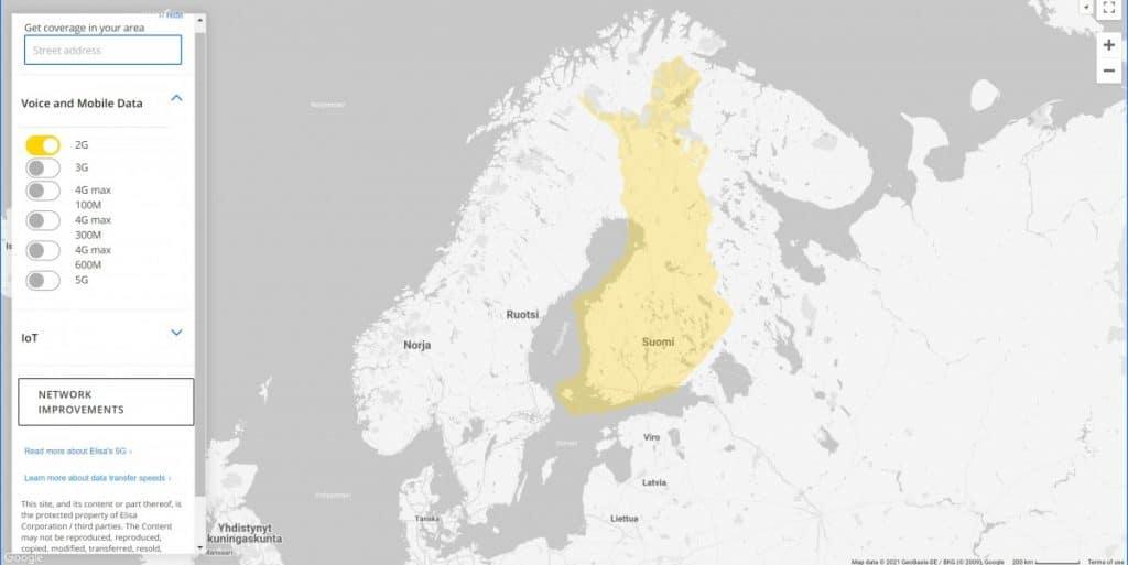 Elisa Finland 2G Coverage Map