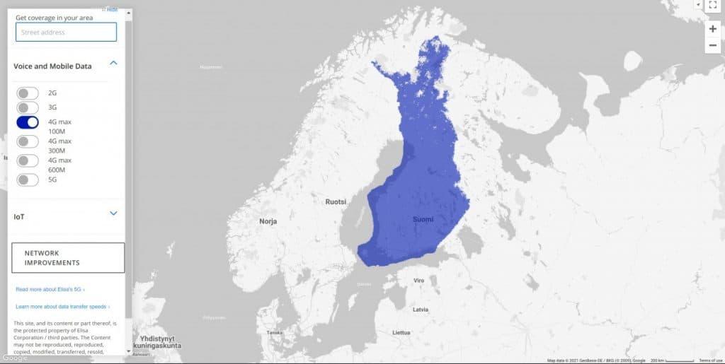 Elisa Finland 4G Coverage Map