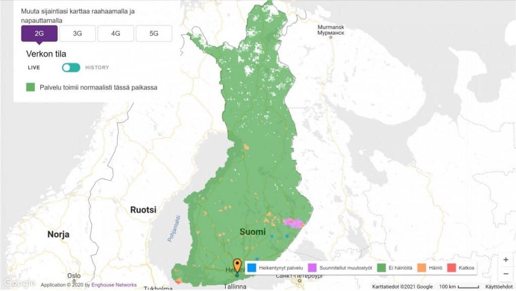 Telia Finland 2G Coverage Map