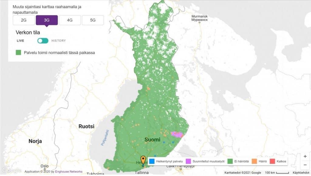 Telia Finland 3G Coverage Map