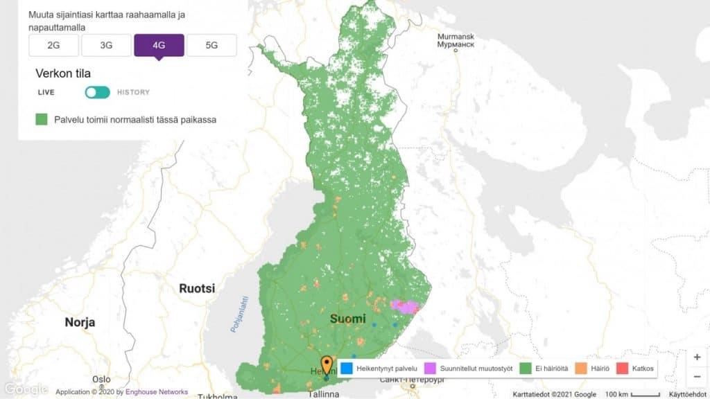 Telia Finland 4G Coverage Map