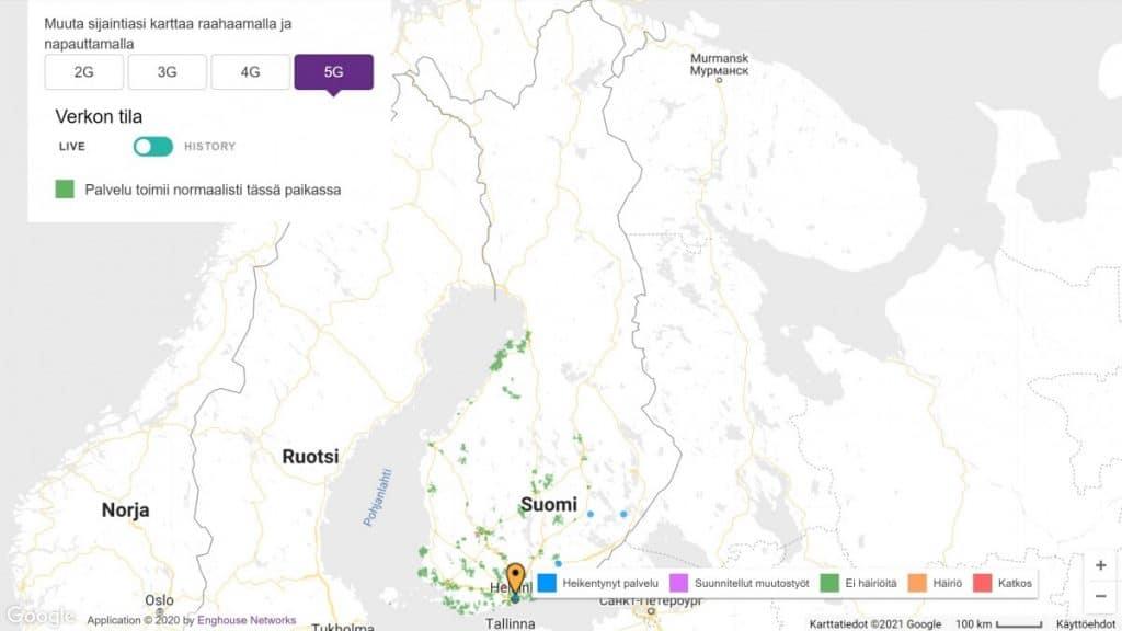 Telia Finland 5G Coverage Map